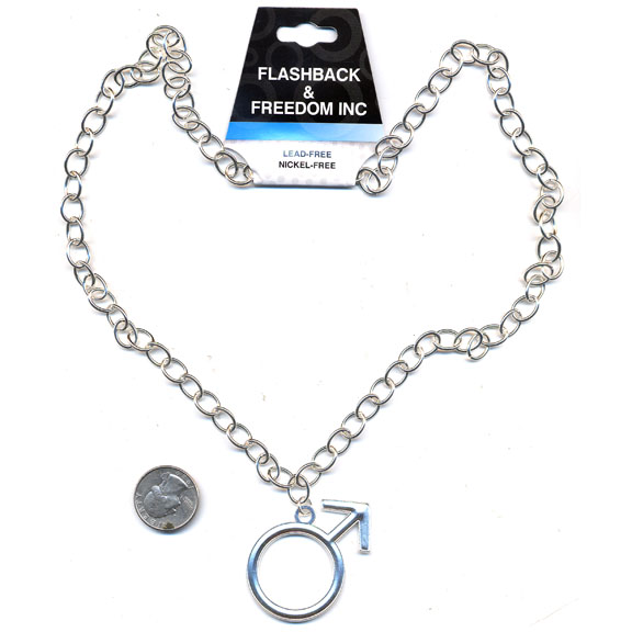 LEAD FREE MALE SYMBOL NECKLACE  IN SILVER COLOR